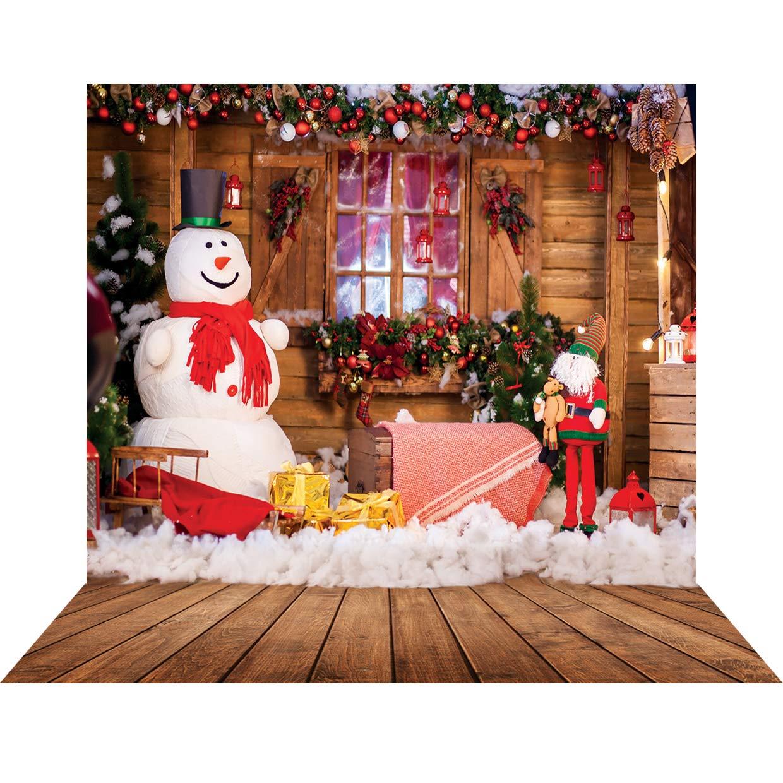 SJOLOON 10X10フィート クリスマス背景 白雪だるま 木製家 写真背景 ビニール写真スタジオ小道具 11301   B07HQ8BXZF