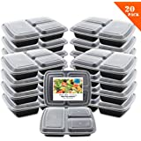 [20 Pack] 3 Compartment Meal Prep Containers with Lids, Food Storage Lunch Box, Bento Box- Reusable-Stackable- Microwave/Freezer/ Dishwasher Safe, BPA-Free Portion Control (39 Oz)