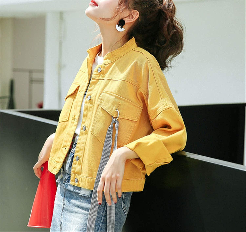 New Korean Denim Jacket Autumn Loose Fresh Yellow Student Coat Female Fashion Baseball Uniform