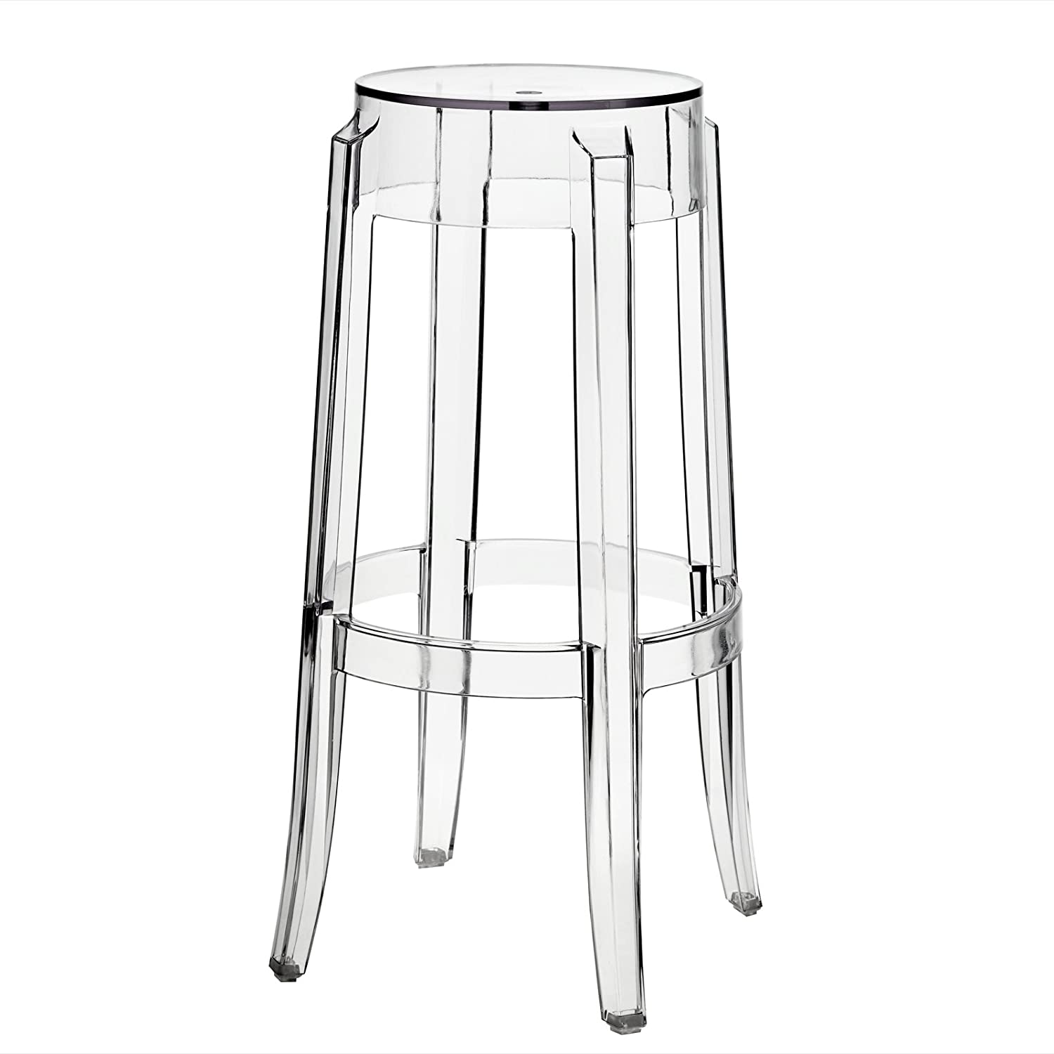 amazoncom modway philippe starck style charles ghost bar stool  - amazoncom modway philippe starck style charles ghost bar stool (set of) kitchen  dining