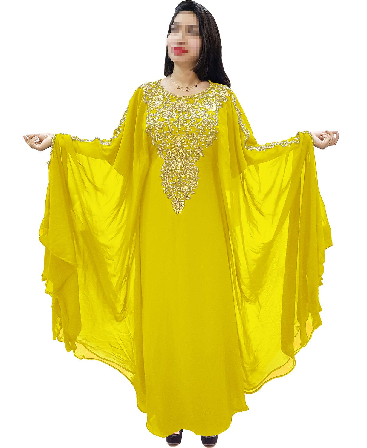 African Boutique Dubai Kaftan for Women Beads Work Maxi Dress Gown Formal Chiffon African Wear Yellow by African Boutique (Image #1)