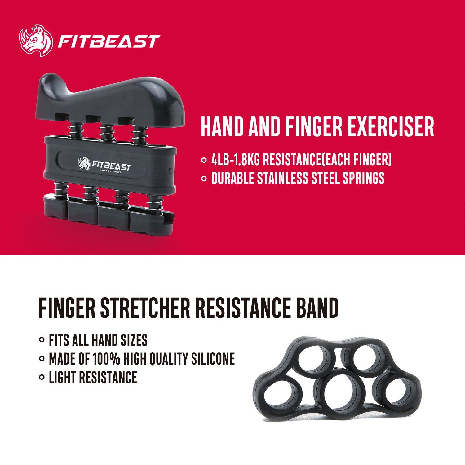 Hand Grip Strengthener Workout Kit (5 Pack) FitBeast Forearm Grip Adjustable Resistance Hand Gripper, Finger Exerciser, Finger Stretcher, Grip Ring & Stress Relief Grip Ball for Athletes and Musicians by FitBeast (Image #3)