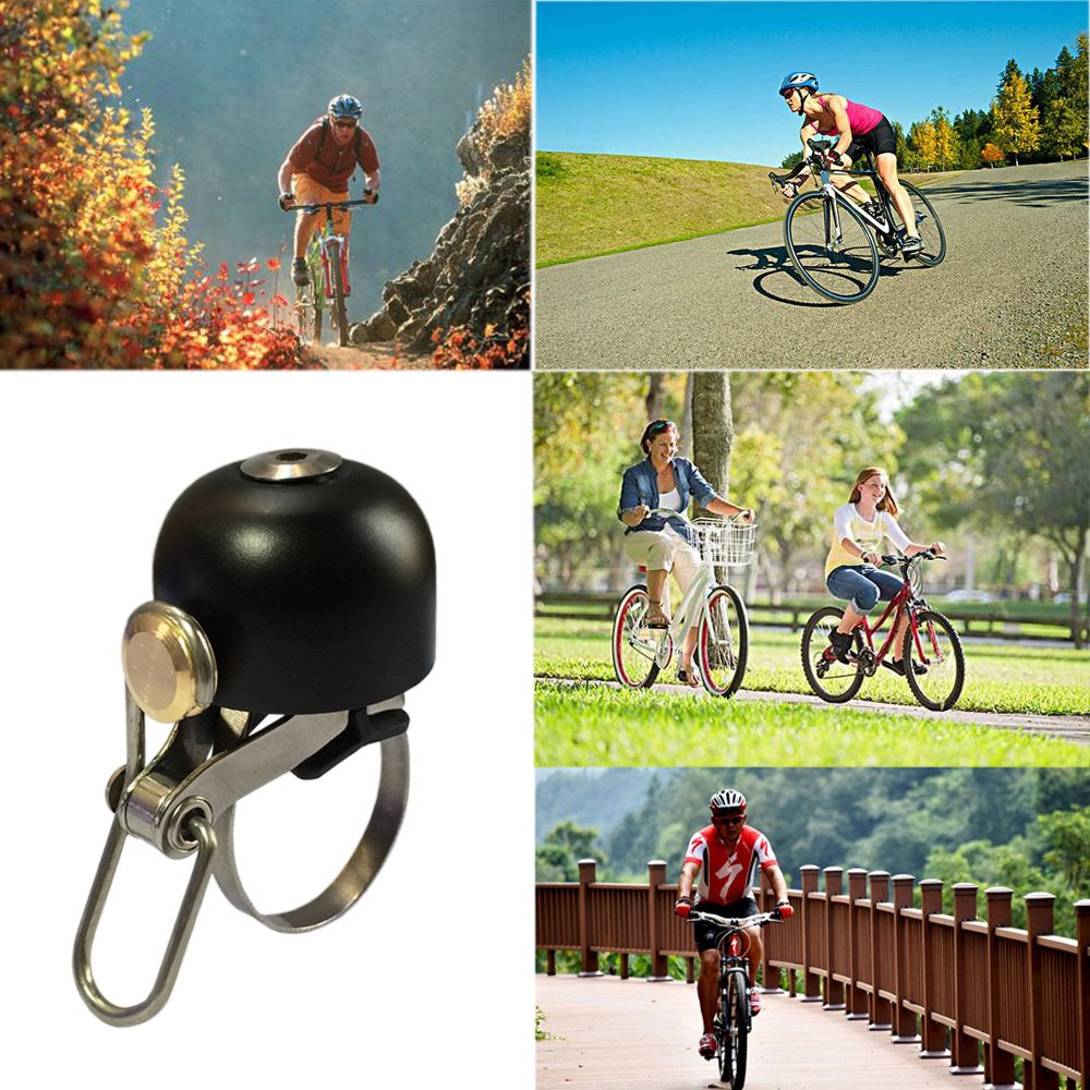 JANUER Bike Bells Pure Metal Bicycle Ring Horns Handlebar Bell Ultra-Loud Alarm Safe Cycling Accessories with Hexagon Wrench for MTB Road Bikes