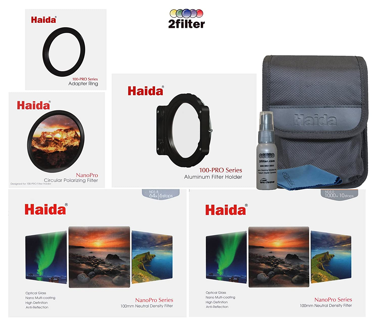 Haida NanoPro 100-pro 100 mm Long Exposure CPLフィルタキット、pro-100フィルタホルダー、Pro CPL, 100 mm NanoPro ND 1.8 and ND 3.0、82 mm PROシリーズアダプターリング、6-filterポーチとクリーニングキット   B07CN98RNJ