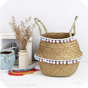 Household Natural Seagrass Wicker Hanging Basket Woven Storage Pot Garden Flower Vase Hanging Basket for Toy Storage Basket,6,27X24cm