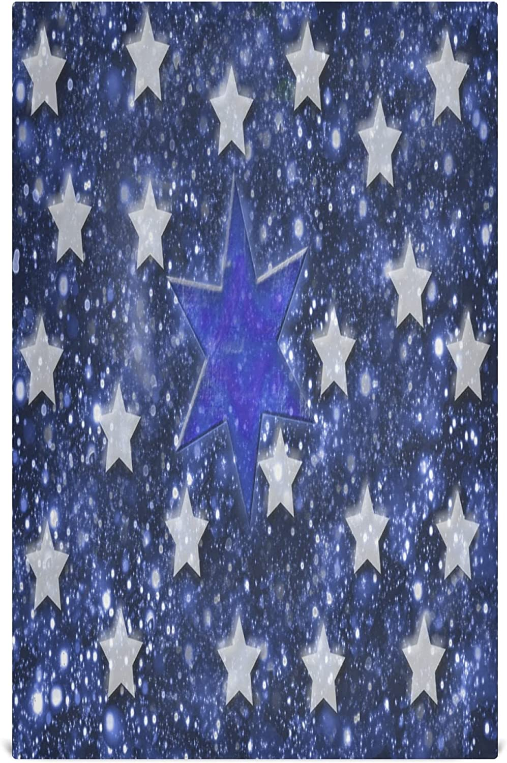 KLL Star Navy Blue Background Dish Cloth Set of 4 Kitchen Cleaning Hand Towels for Drying Dishes Wash Clothes for Sink Cooking Baking Table Decor 28 x 18 in