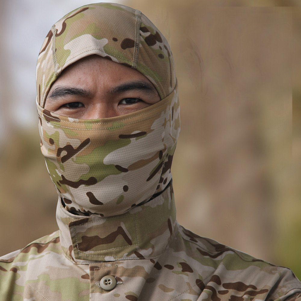 Lljin Camouflage Army Cycling Motorcycle Cap Balaclava Hats Full Face Mask Headgear (D)