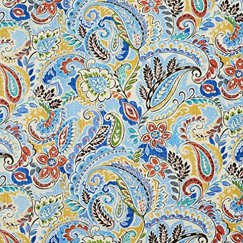 - Newport Aqua Teal Coral Orange Persimmon Dark Blue Gray Silver Light Blue Light Geen Abstract Geometric Contemporary Floral Paisley Outdoor and Indoor Print Upholstery Fabric by the yard