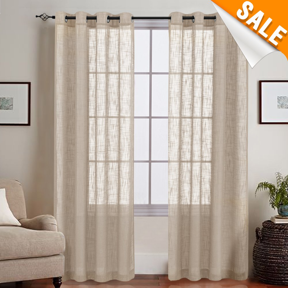 Taupe Sheer Voile Curtain Panels for Living Room Open Weave Linen Like Grommet Sheer Curtains for Kitchen, Two Panels, 52-by-84 Inch