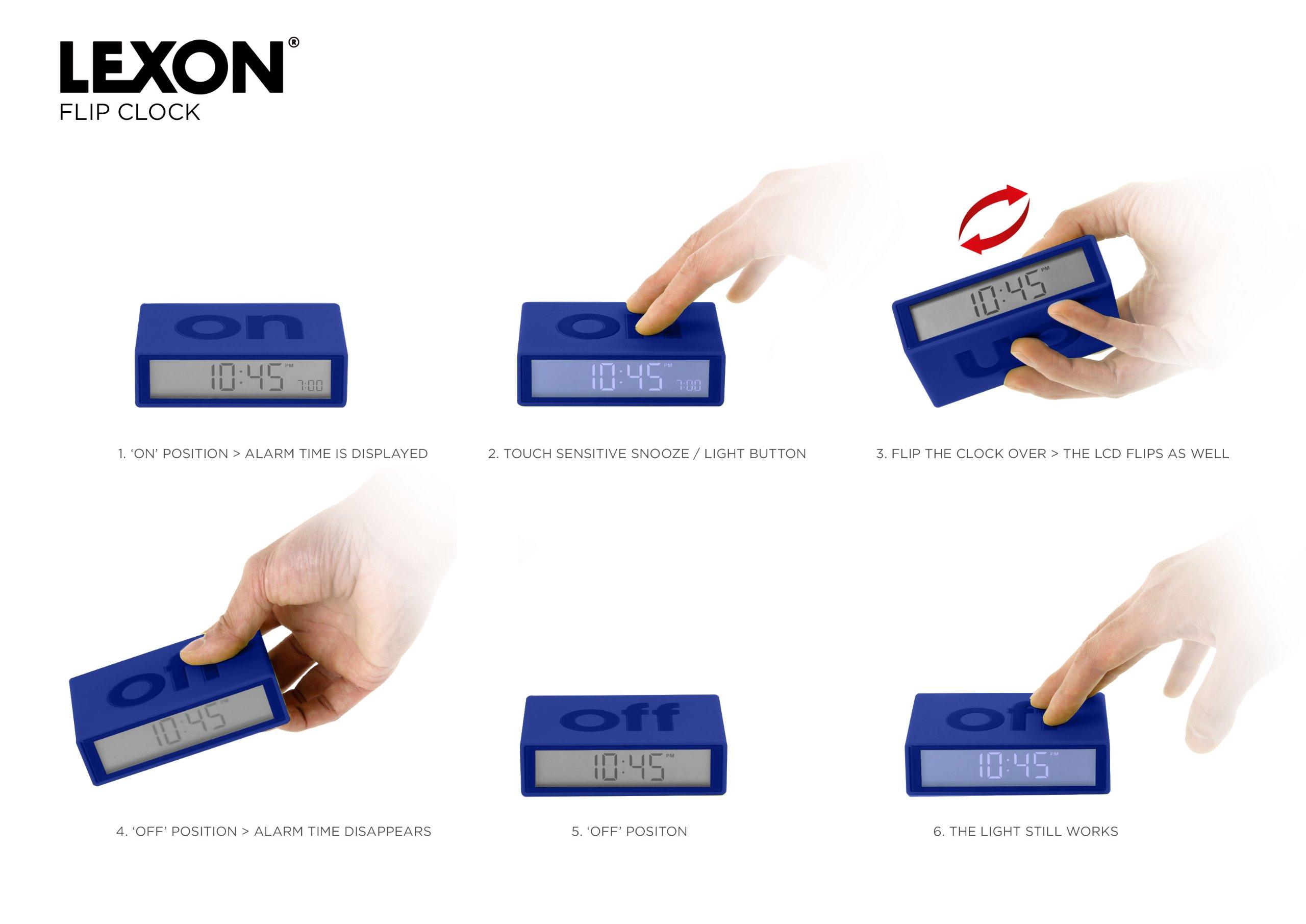 Lexon Alarm Clock - Flip - Blue by Lexon