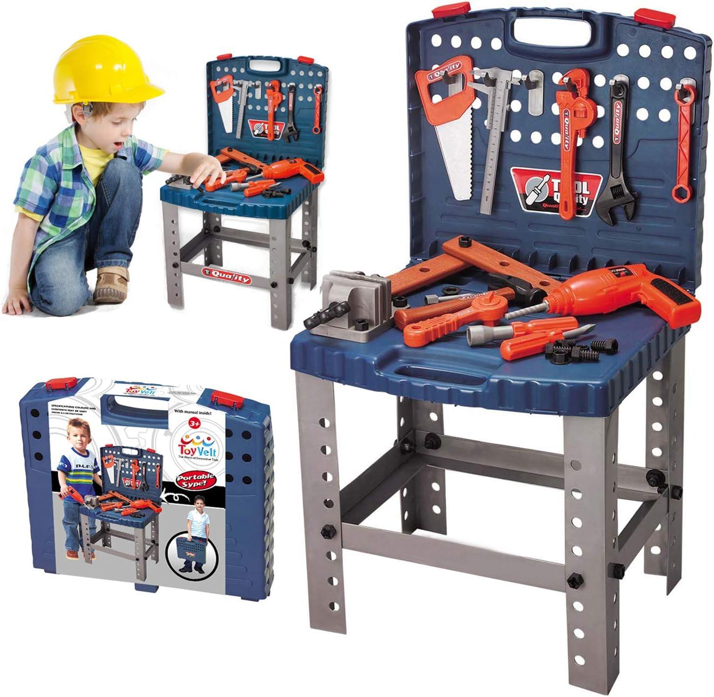 68 Piece Kids Toy Workbench W Realistic Tools und Electric Drill für Construction Workshop Tool Bench, Stem Educational Play, Pretend Play, Birthday Gifts und Toolbox für Alter 3 - 10 Yrs Old