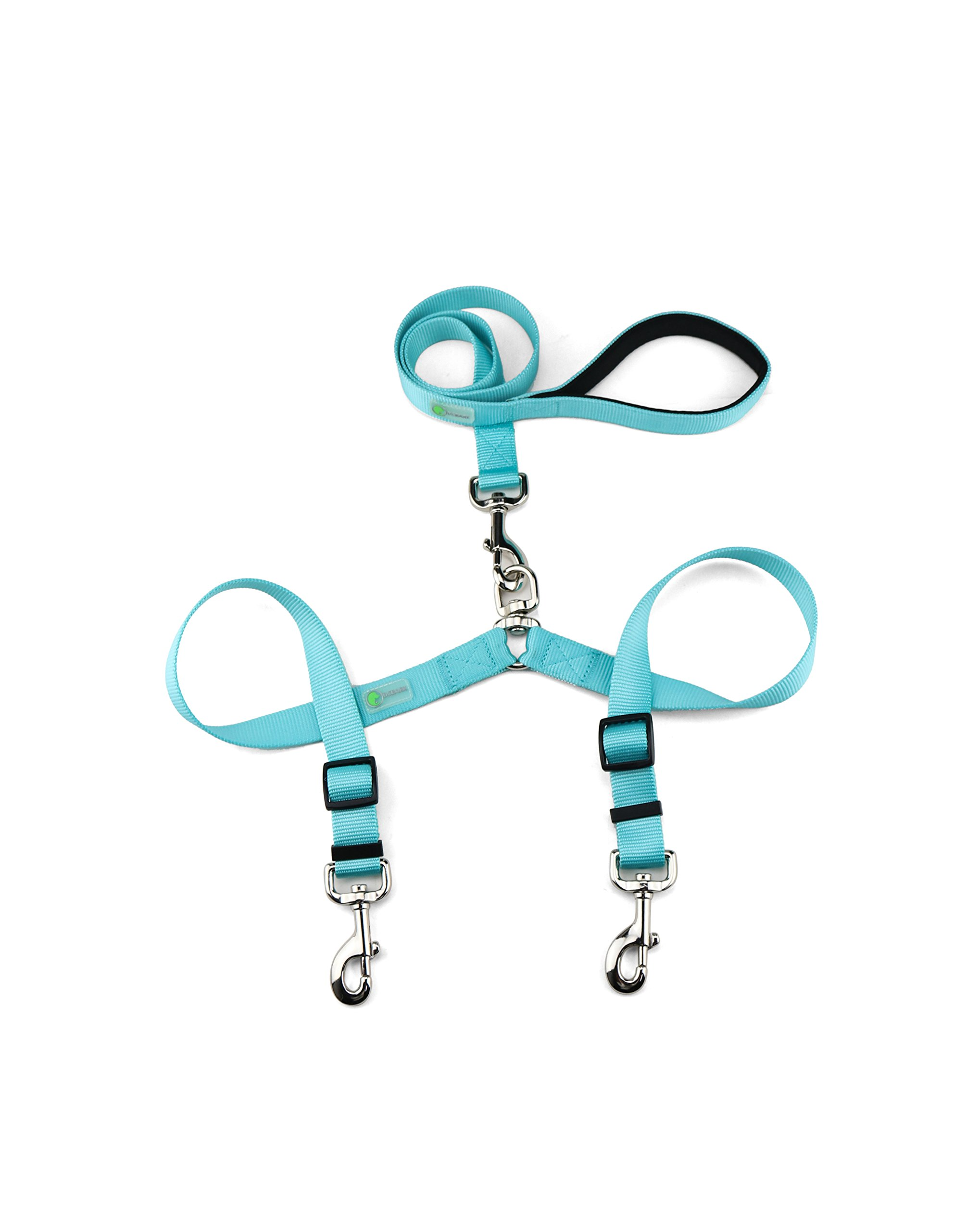 DCBark Double Dog Leash, Premium Quality No-Tangle Leash for 2 Dogs (M, Turquoise)