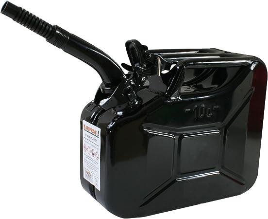 Stahlblechkanister Schwarz 10 Liter Auslaufrohr Flexibel Benzinkanister Kanister Auto