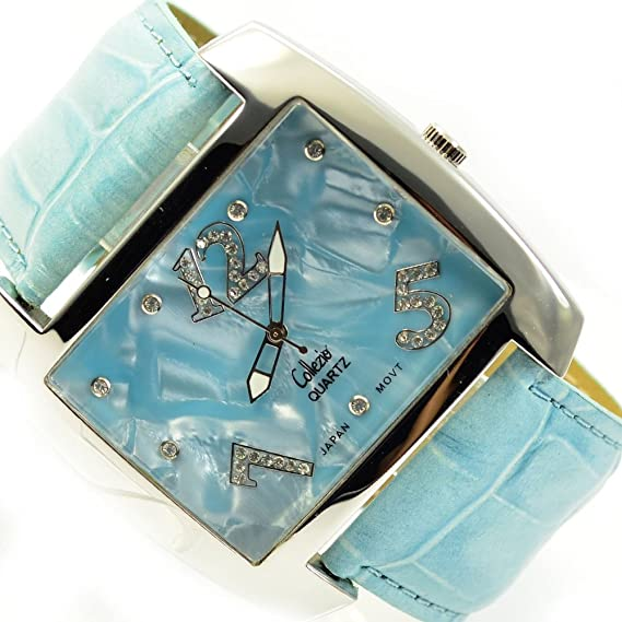 XXL Mujer Reloj De Pulsera Turquesa Plata Brillantes Piedras grandes Mujer Reloj al 583: Amazon.es: Relojes