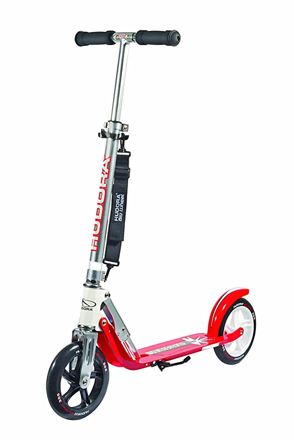 Hudora 14769 Big Wheel RC 205 - Patinete (Ruedas de 205 mm), Color Plateado y Rojo