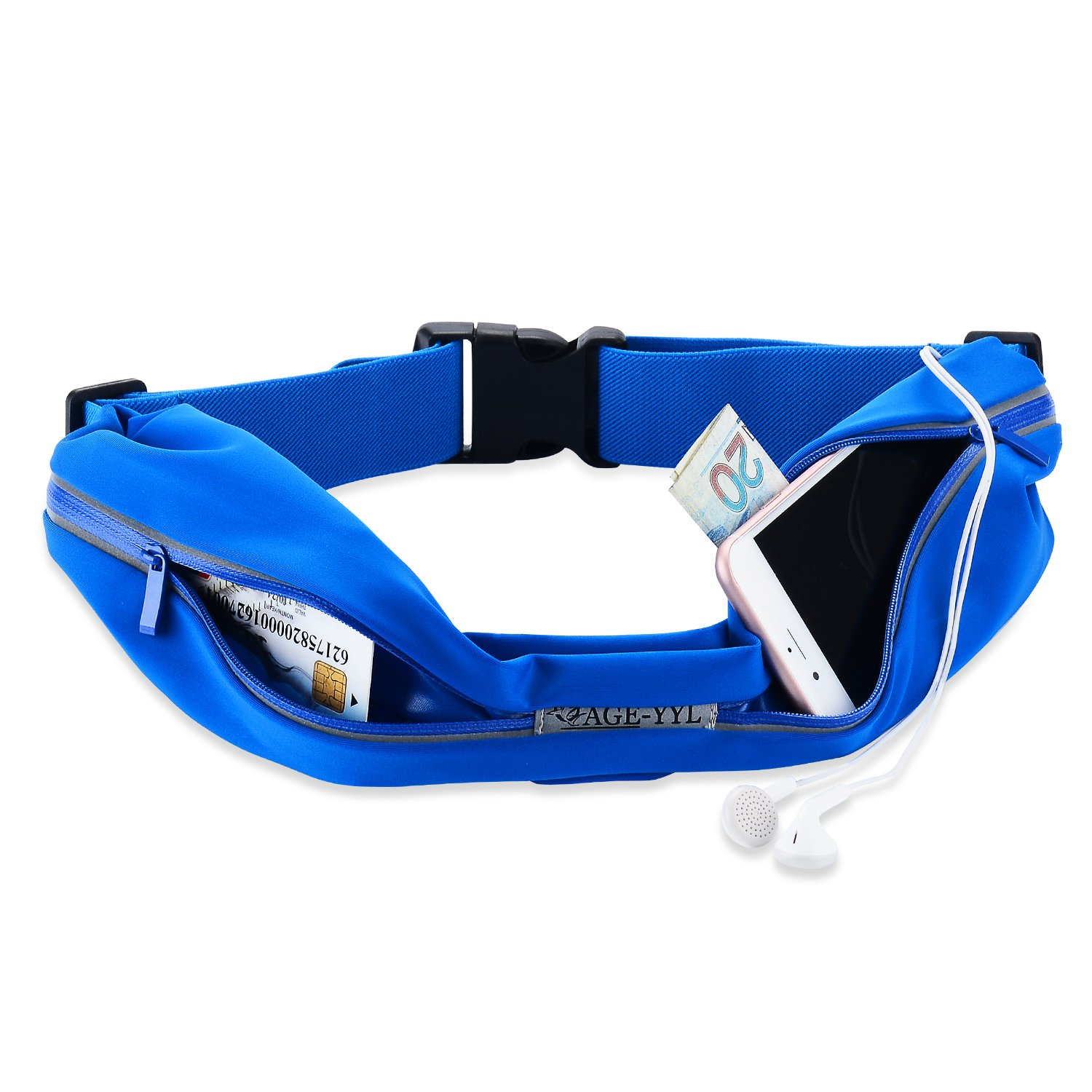 Cage-YYL Running Belt – Reflective Waist Pack – iPhone 6 , 7 , 8 , X Plus Pouch for Runners