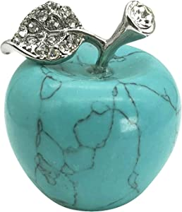 Neyisaa Synthetic Green Howlite Turquoise Crystal Apple Decor, Healing Crystals Pocket Stone Fruit Figurine Craft Home Decoration 30mm