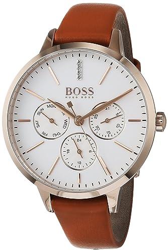 Hugo BOSS Reloj Multiesfera para Mujer de Cuarzo con Correa en Cuero 1502420: Amazon.es: Relojes