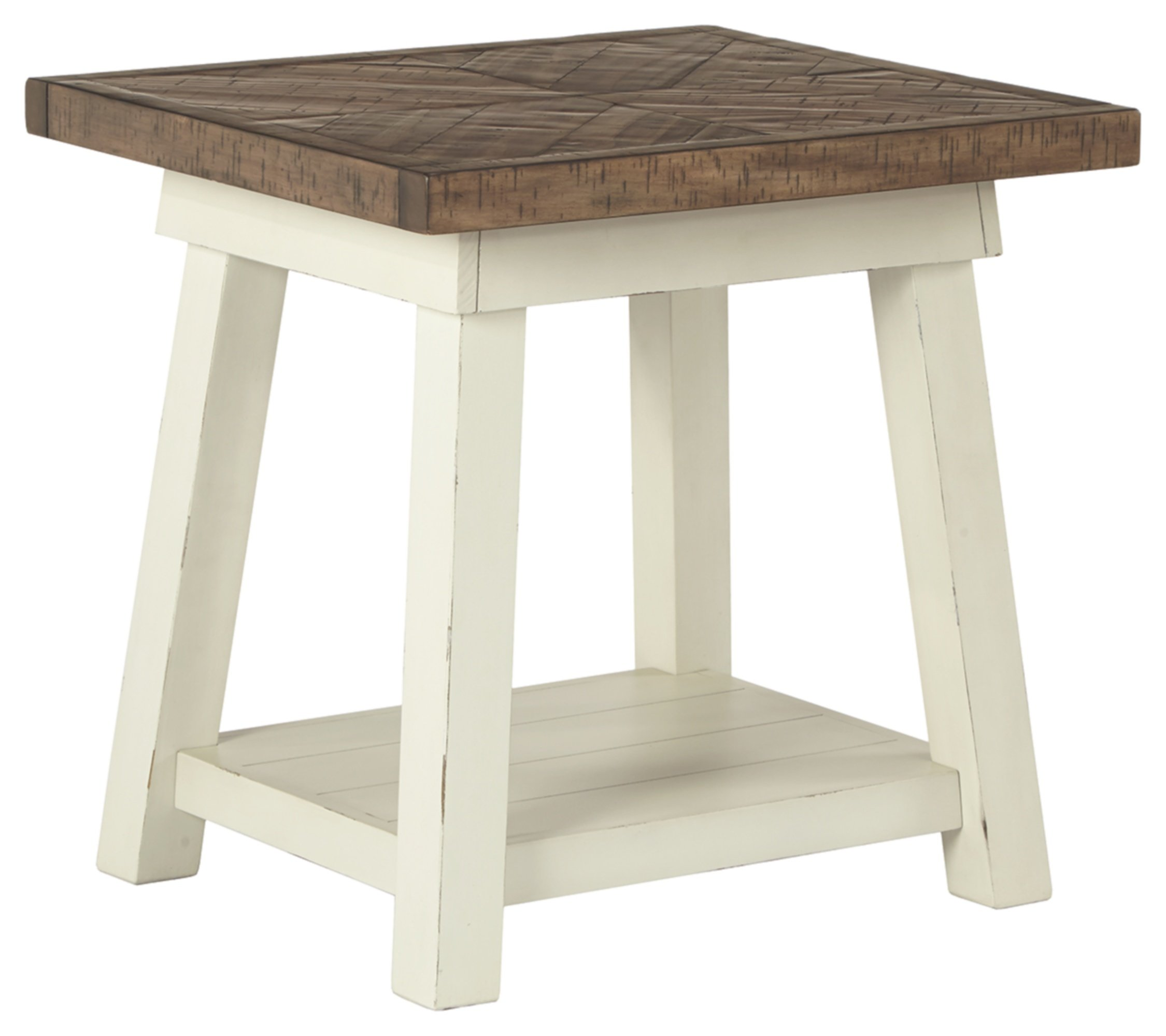 Signature Design by Ashley - Stowbranner Farmhouse Rectangular End Table, White/Brown - MODERN FARMHOUSE END TABLE: Designed with shabby-chic appeal, this small stand exudes on-trend vibes. The classic country-chic color palette and homey finishes accentuate your good taste in style HANDSOMELY CRAFTED: Made of reclaimed pine wood solids and engineered wood. Designed with a lower fixed shelf TWO-TONE FINISH: Crisp white pairs so beautifully with the natural wood finish tabletop, complete with a subtly distressed herringbone design - living-room-furniture, living-room, end-tables - 71FWX0Z 7mL -