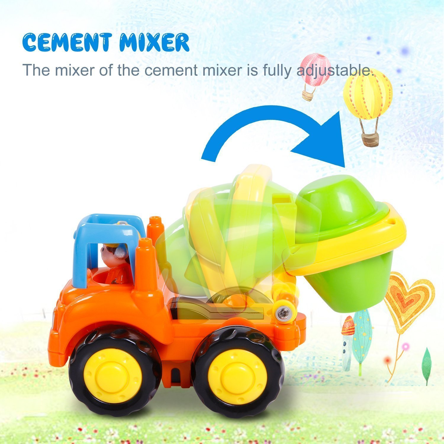 Friction Powered Cars Push and Go Car Construction Vehicles Toys Set of 4 Tractor,Bulldozer,Cement Mixer Truck,Dumper Push Back Cartoon Play for  2 3 Years Old Boys Toddlers Kids Gift by GoStock (Image #9)