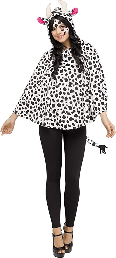 Cow Poncho Ladies Fancy Dress Costume Outfit Animal Festival Raincoat Womens