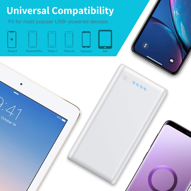 Ultra Alta Capacidad Cargador Port/átil con 2 Puertos Salidas USB Alta Velocidad y 4 LED para iPhone iPad Mac Samsung Huawei Xiaomi Tablets y M/ás 24800mAh Power Bank iPosible Bater/ía Externa
