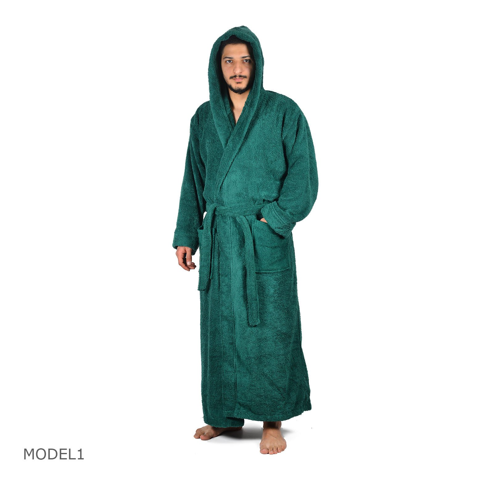 Arvec Men's Combed Turkish Cotton Terry Full Ankle Length Hooded Bathrobe (Medium/Large, Green)