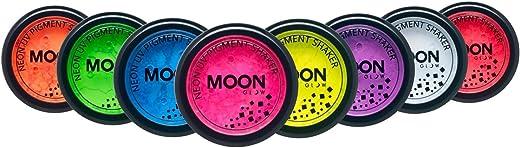 Moon Glow - Agitador de pigmento neón UV 3g set de 8 colores - produce un brillo increíble bajo la iluminación/retroiluminación UV!