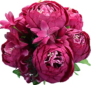 Duovlo Springs Flowers Artificial Silk Peony Bouquets Wedding Home Decoration,Pack of 1 (Spring Hot Pink)