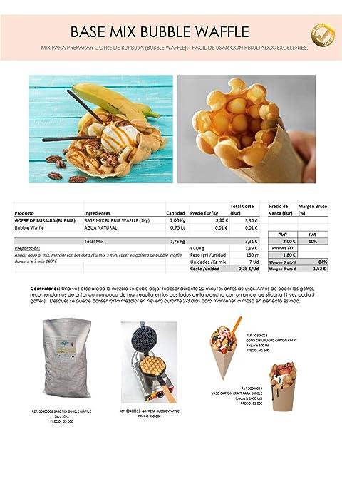 Base Mix Bubble Waffle - Preparado en polvo a base de harina para elaborar Bubble Waffle (saco de 10kg): Amazon.es: Alimentación y bebidas