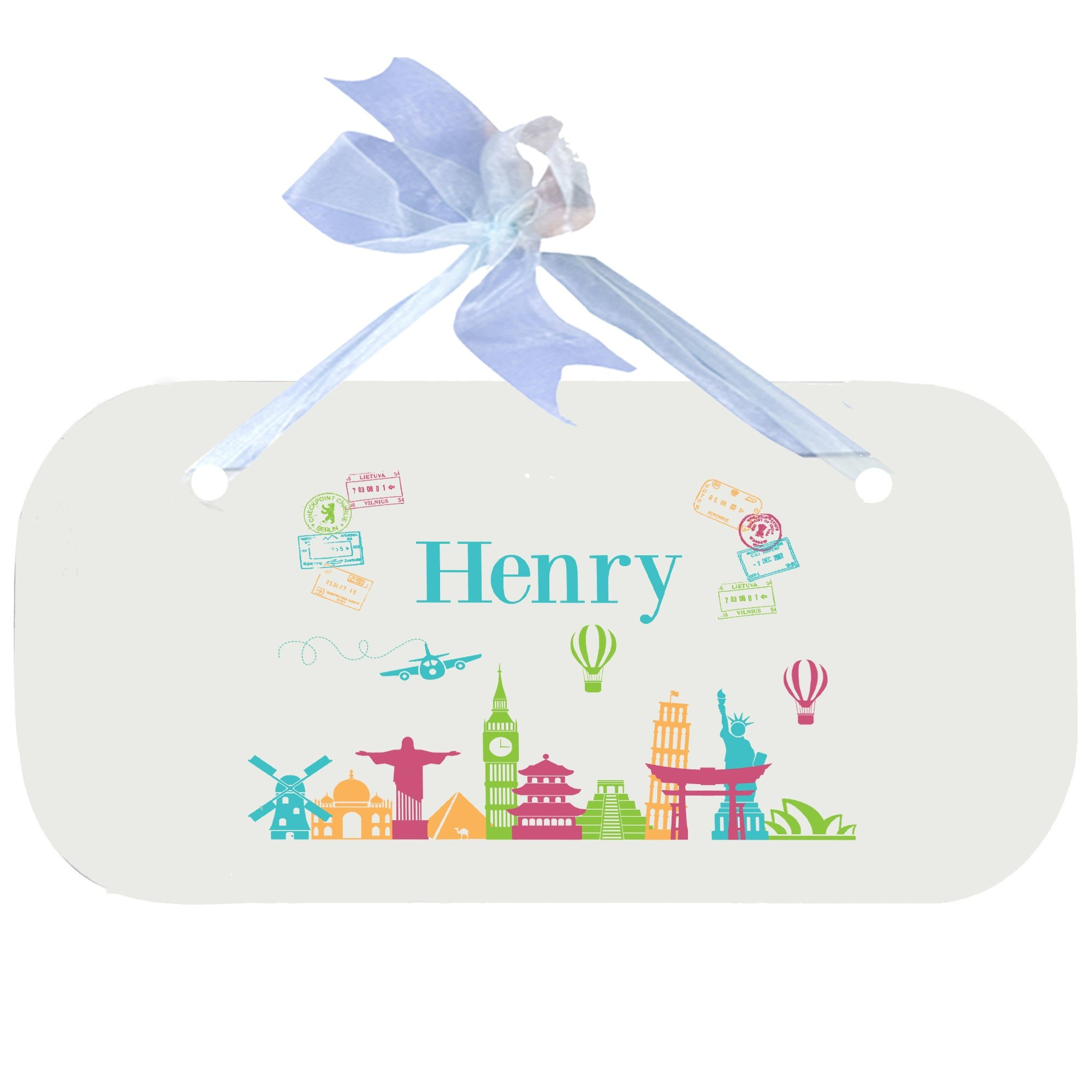 Personalized World Travel Pink Wooden Door Hanger With Blue Ribbon