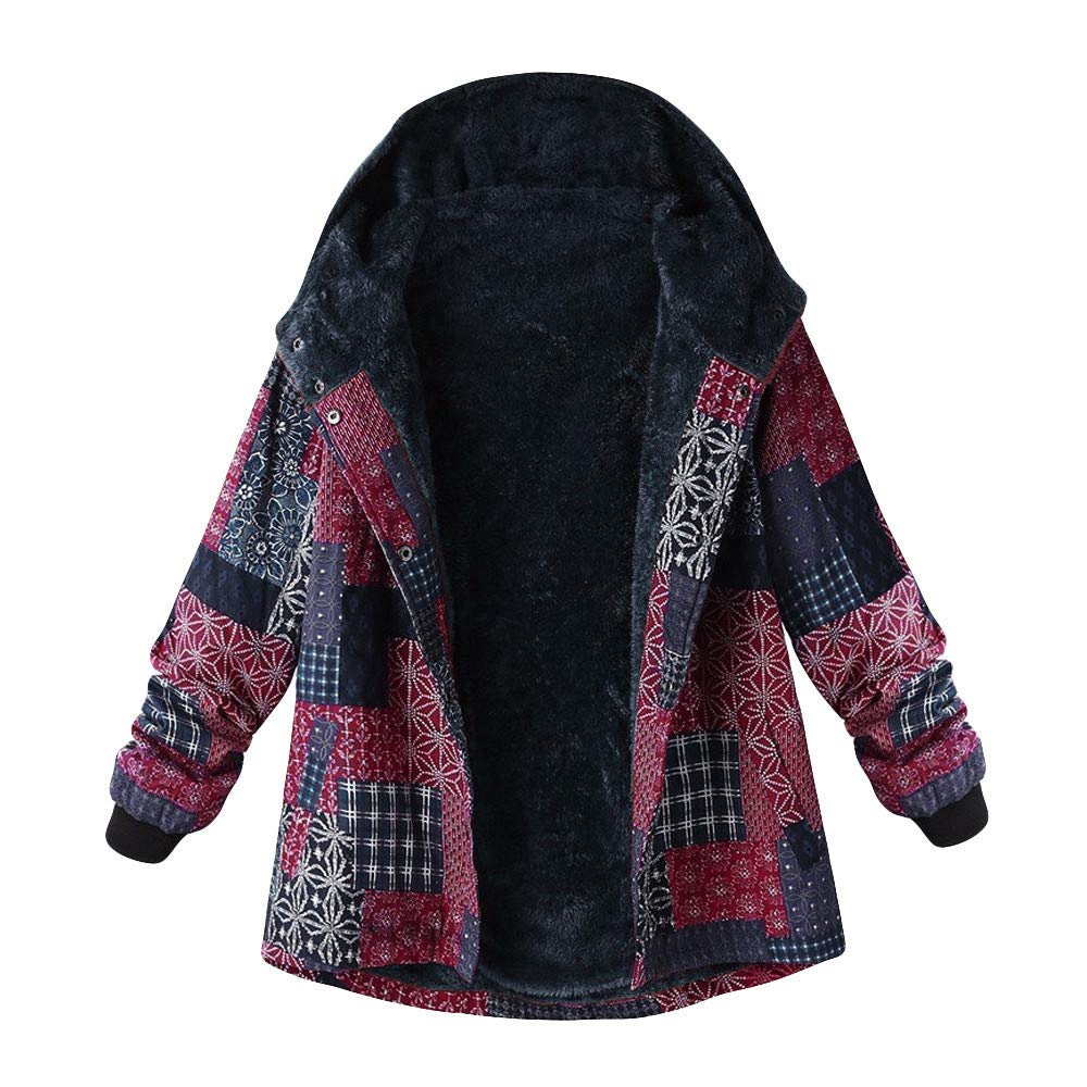 Winter Sale-Women Vintage Printing Hooded Long Sleeve Thick Fleece Zipper Coat Plus Size by Dacawin