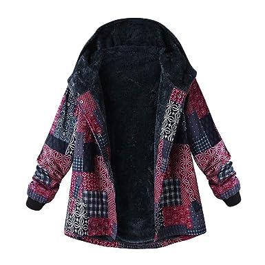 244361ca60567e Bealeuy Damen Übergröße Wintermantel Baumwolle Leinen Mantel Nationaler  Stil Jacke mit Kapuzen und Fleece-Innenseite
