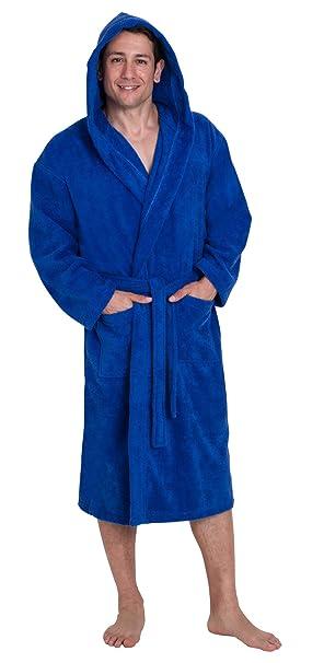 e5ee77cd6 John Christian - Albornoz de rizo 100% algodón con capucha para hombre -  Azul