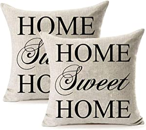LEIOH Cotton Linen Sofa Pillow Covers Set of 2 Home Decor Design Home Sweet Home Pattern Throw Pillow Case Cushion Covers 18 X 18 Inch