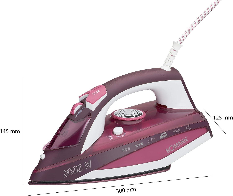 Bomann DB 6005 CB – Plancha de vapor con 7 funciones, suela cerámica, regulación de temperatura sin regulación, zuschaltbare Función de autolimpieza, color blanco/rojo: Amazon.es: Hogar