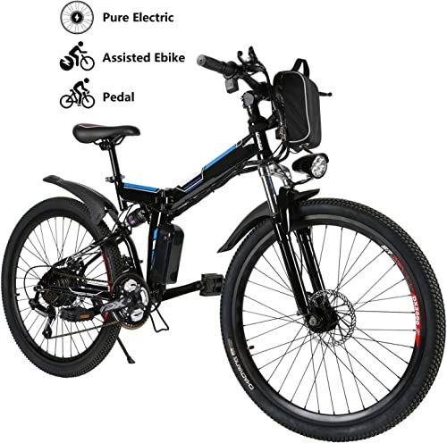 Yiilove 26 Electric Bicycle Electric Mountain Bike for Adult with 36V Lithium-Ion Battery 250W Powerful Motor 21 Speed Ebike Black Blue