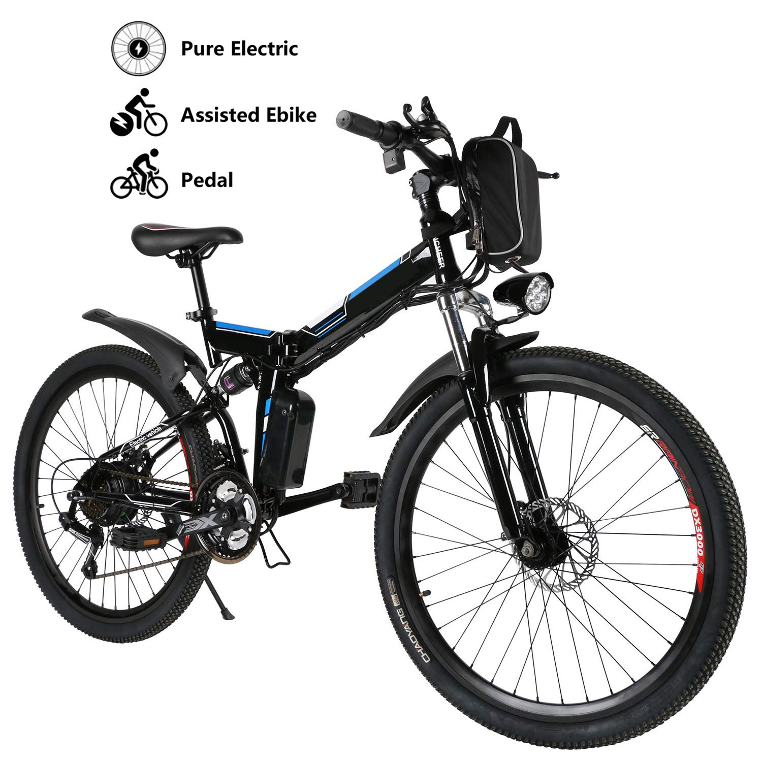 Yiilove Electric Bicycle 26 Electric Mountain Bike for Adult with 36V Lithium-Ion Battery Ebike 250W Powerful Motor 21 Speed