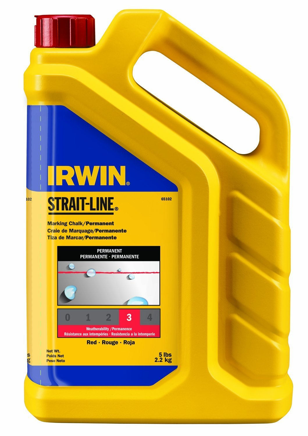 IRWIN Tools STRAIT-LINE Standard Marking Chalk, 5-pound, Red (65102