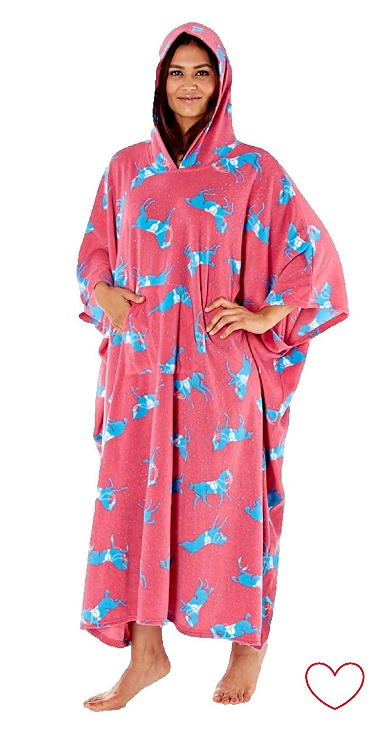 Ladies Horse Print Fleece Poncho Hooded Lounger Dressing Gown//Robe Blue//Pink NEW