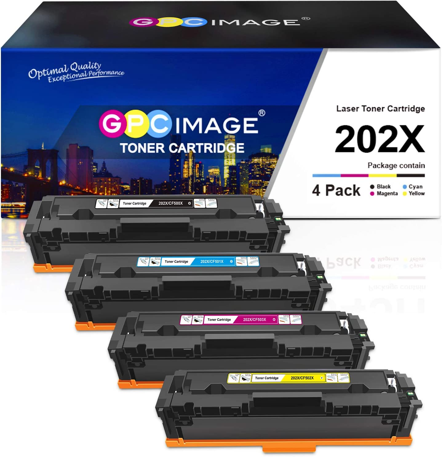 GPC Image Compatible Toner Cartridge Replacement for HP 202X 202A CF500X CF500A to use with Laserjet Pro MFP M281fdw M254dw M281cdw M281 M281dw M280nw Toner Printer (Black, Cyan, Magenta, Yellow)