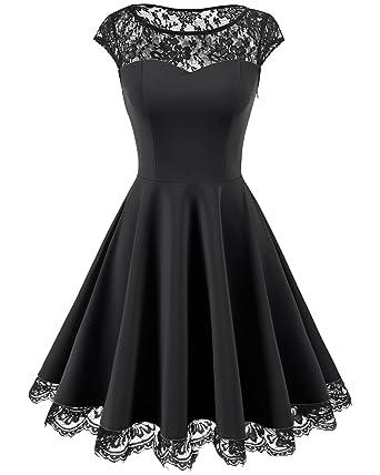HomRain Damen 1950er Elegant Spitzenkleid Rundhals Knielang festlich  Cocktail Abendkleid  Amazon.de  Bekleidung 90557cacfe