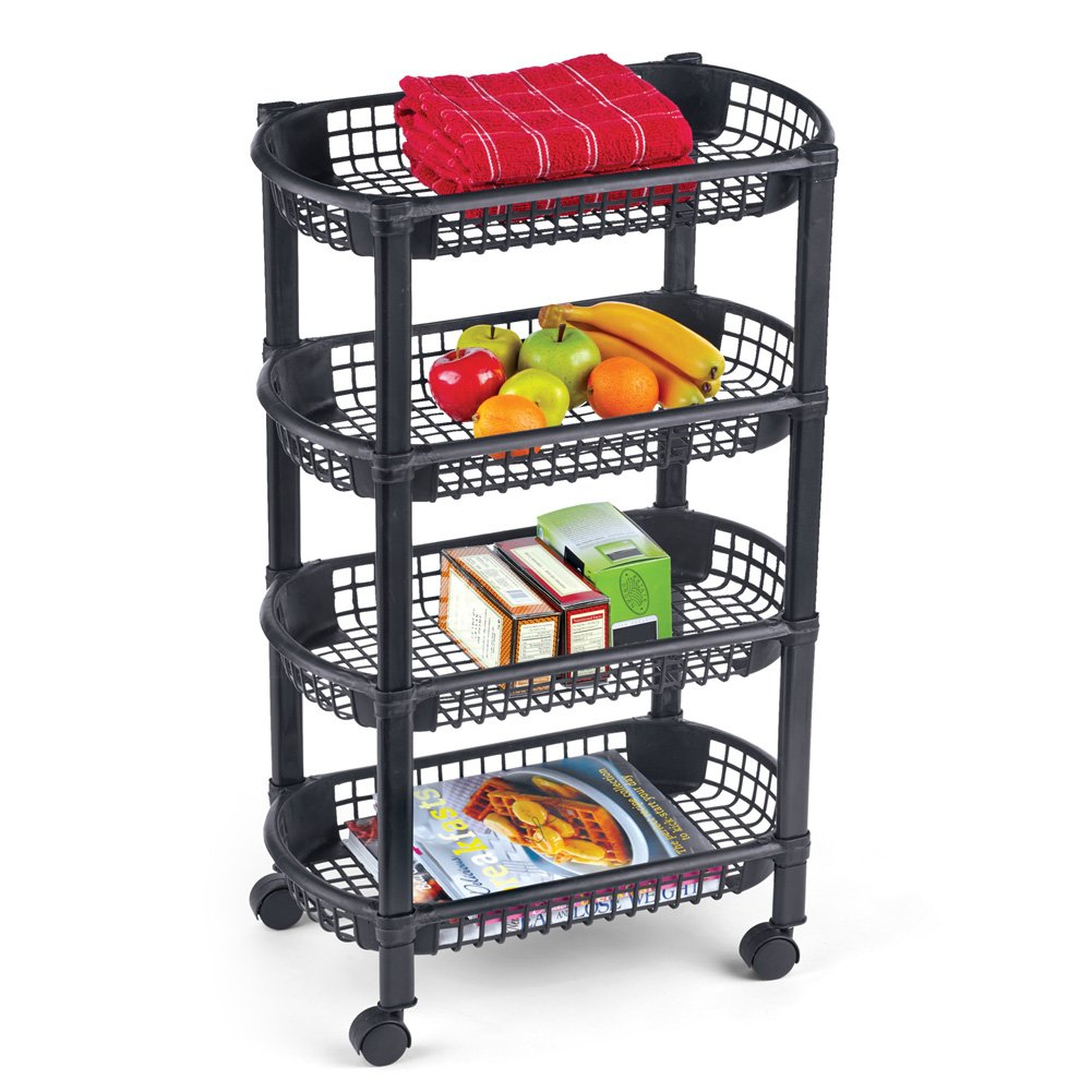 4-Tier Rolling Cart w/Storage Baskets, 18.25 x 10.25 x 29 Inches Winston Brands