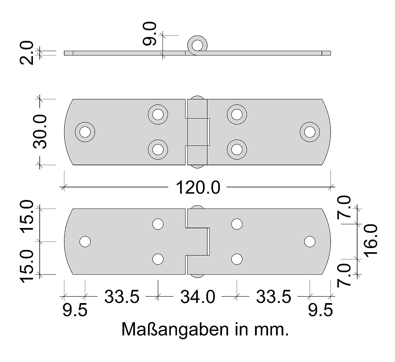 Scharnier Materialst/ärke 2,0 mm Gedotec franz/ösische Kistenb/änder schwere Torb/änder Ladenb/änder aus Stahl Torband blau verzinkt T/ürscharnier Metall zum Schrauben 120 x 30 mm 1 St/ück