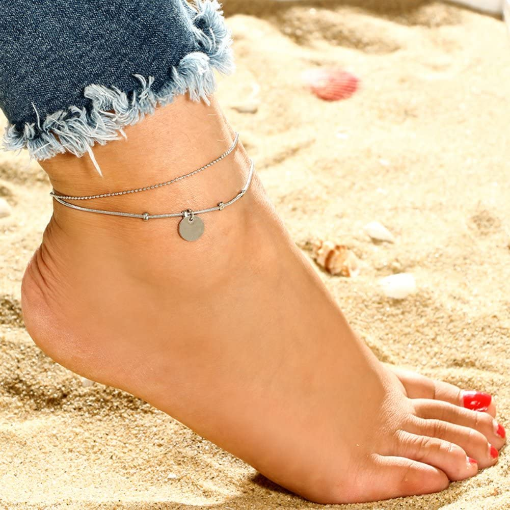 Acamifashion Multi-Layer Women Chic Disc Anklet Beach Sandal Barefoot Jewelry Ankle Bracelet