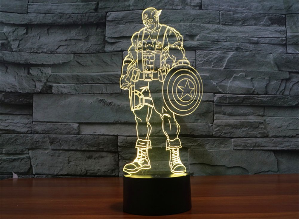 SmartEra® 3D Optical Illusion 2016 New Captain America Panel Model Lighting Night 7 Color Change USB Touch button LED Desk Table Light Lamp by SmartEra® (Image #2)