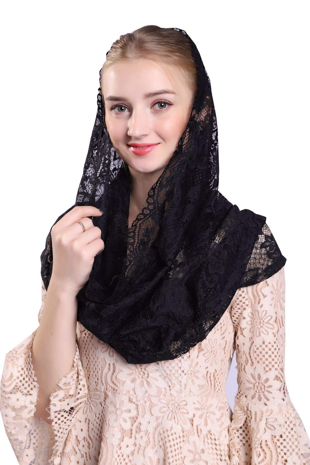 Soft and Comfortable Mantilla Veils Spanish Style Lace Infinity Veil Mantilla Latin (Black) by Czy accessories
