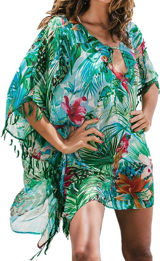 FreestyleMo Damen Strandponcho Sommer Spitze Quaste Bikini Cover Up Tunika Strandkleid