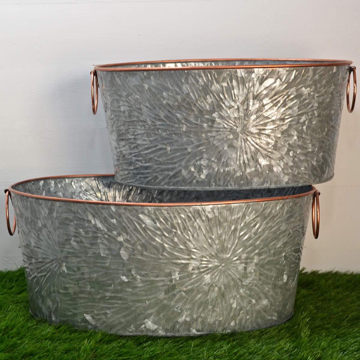 Fiesta Studios Set di 2 fioriere in Metallo zincato Vasca Ovale Grande con Finiture in Rame per casa o Giardino per Piante & Storage