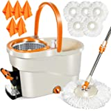 MASTERTOP Spin Mop and Bucket with Wringer Set, Floor Cleaning System, Easy Wring Foot Pedal, Stainless Steel Mop Handle, 5 M